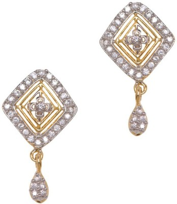 Sparkle Street Shimmer Square Alloy, Stone Drop Earring