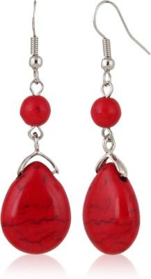 Eve's Wardrobe Red Howlite Metal Drop Earring