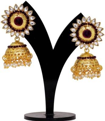 Jaipur Mart Purple Crystals Round Kundan Tops Alloy Jhumki Earring