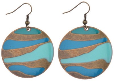Bohocraft Bohemian Trendy Round Blue Enameled Striped Alloy Dangle Earring