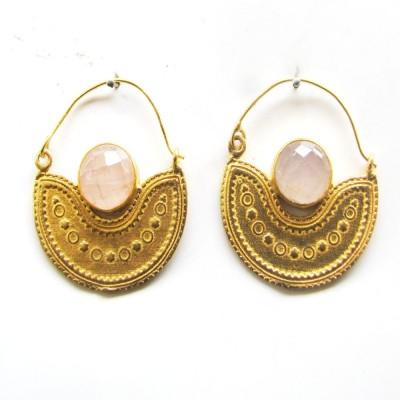 Gharaz semi precious Gold plated Quartz Brass Hoop Earring