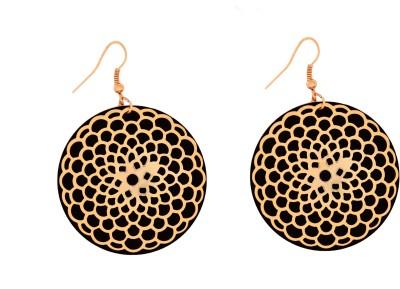 GemRoute Black Golden Flower Alloy Dangle Earring