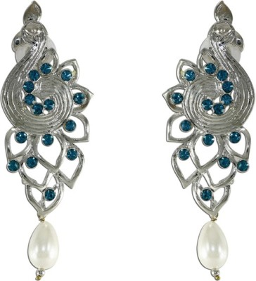 The Fine World Peacock Pattern Adorned With Sky Blue Stones Zircon Metal Drop Earring