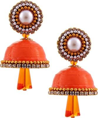 Jaipur Raga Hancrafted Single Stud Orange Jhumka Brass Jhumki Earring