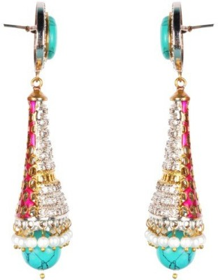 Dipshi Bollywood Style Beautiful A D Stone & Pearl Partywear Copper Drop Earring