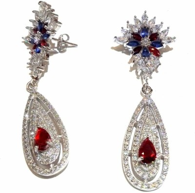 Vummidi Bangaru Chetty & Sons Glittering Stones Sterling Silver Dangle Earring