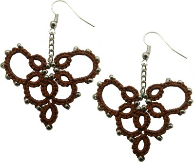 Techpro Brown Tatted Earring With Silver colour bead Fabric Dangle Earring