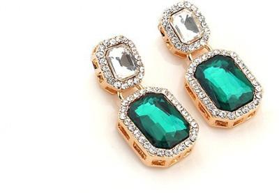 Stylovy Square Drop Shape Gemstone Dangle Earrings Alloy Drop Earring