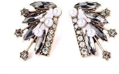 Oomph Gold, Black & White Crystal & Pearl Fashion Jewellery for Women, Girls & Ladies Metal Stud Earring