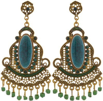 Blacksmith Green Rajwada Crystal Metal Drop Earring