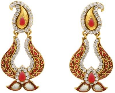 Aaishwarya Traditional Paisley Design Meenakari Red Crystal Brass Chandbali Earring