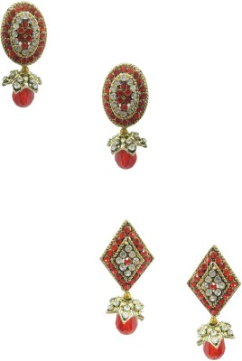 Taruni Combo Of 2 Alloy Red Earrings. Alloy Earring Set