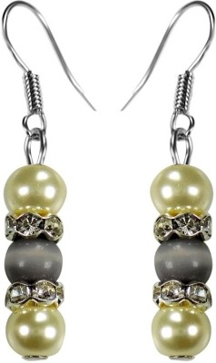 Crystals & Beads Grey Colour Round Cats Eye & White Pearl Bead with Diamond Spacer Acrylic, Glass, Crystal Dangle Earring