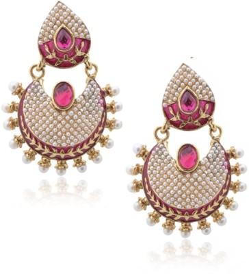 Royal Bling Fuchsia Leafy Pearling Metal Chandbali Earring
