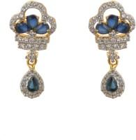 Luxor Blue Stone Studded Earrings Diamond Brass Drop Earring