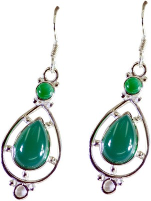 Riyo Enticingstar Green Onyx Onyx Sterling Silver Dangle Earring