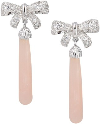 Gold & More Bow Shaped Cubic Zirconia Brass Drop Earring