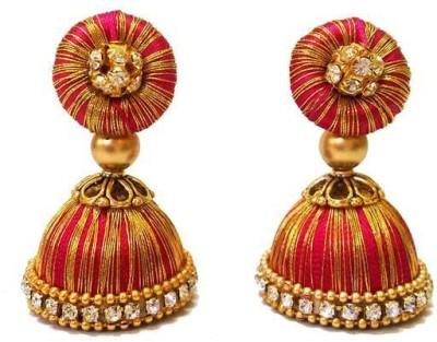 Ovis Creations shimmering two shade jumkka Silk Dori Jhumki Earring
