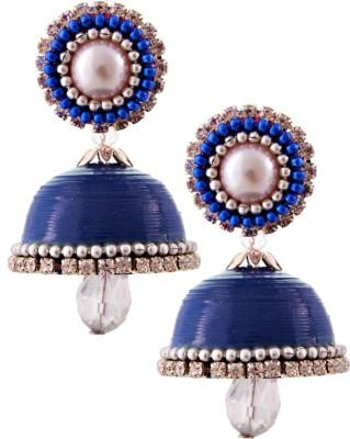 Jaipur Raga Hancrafted Single Stud Blue Jhumka Brass Jhumki Earring