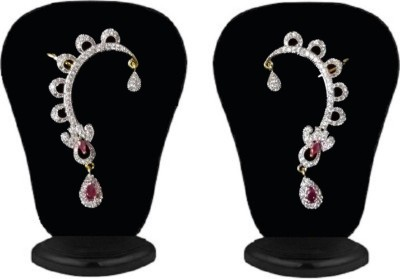 Heena Jewellery Red Marquise And Pear Stone Studded Cubic Zirconia Brass Cuff Earring