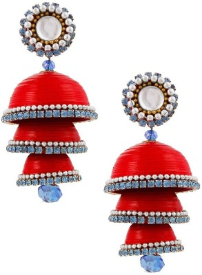 Jaipur Raga Traditional Handcrafted Triple Jhumka Brass Jhumki Earring