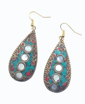 Pearls India Tear Drop Green Metal, Lac Dangle Earring