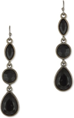 Fabula Black Stone Danglers Metal Dangle Earring