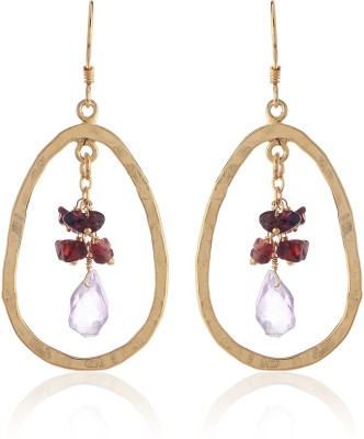 Thingalicious Amethyst and Garnet Accented Oval Alloy Dangle Earring