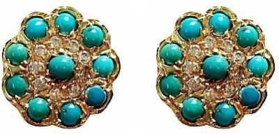 Blingxing Blue Flower Metal, Alloy Stud Earring