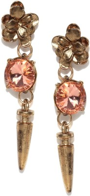 Fabula Gold & Pink Zircon American Diamond AD CZ Jewellery for Women & Girls Metal Drop Earring