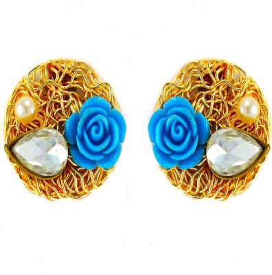 imillery imillery blue rose Alloy Stud Earring