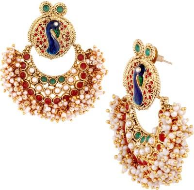 the jewelbox Chaand Peacock Copper Chandbali Earring