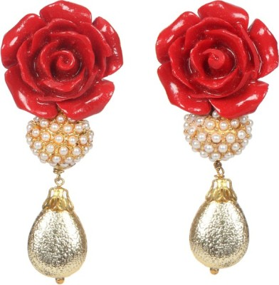 Envy Flower With Pearl Brass Drop Earring