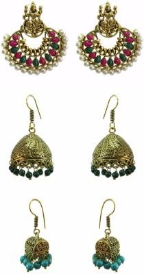 Chhayamoy Laxmi Chandbali & Oxidised Jhumki Alloy Earring Set