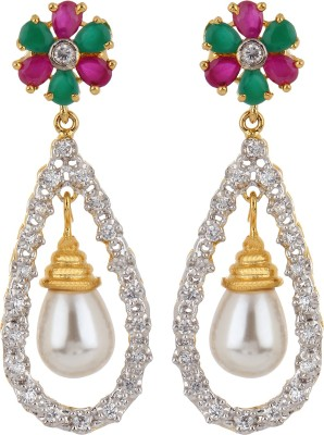 Adwitiya Collection Summer Delight Cubic Zirconia Copper Drop Earring