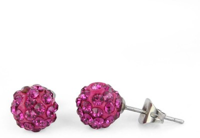 Fab Fashion Pink Cubic Zirconia Stainless Steel Stud Earring