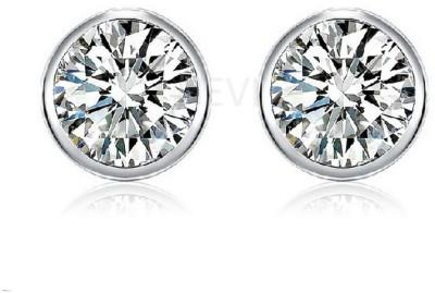 Nevi Simple Circular Swarovski Crystal, Crystal Alloy, Crystal, Sterling Silver Stud Earring