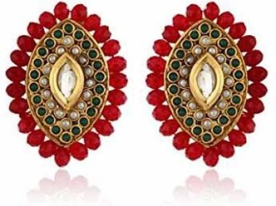 Ratnakar Red Crystal Top Copper Stud Earring