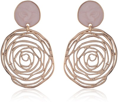 Thingalicious Charismatic Pink Rose Alloy Drop Earring