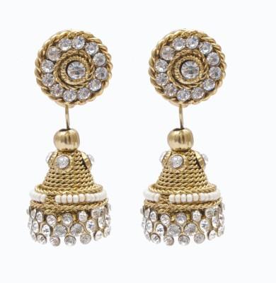 Neelam gold antique light weight zumki with tops Alloy Jhumki Earring
