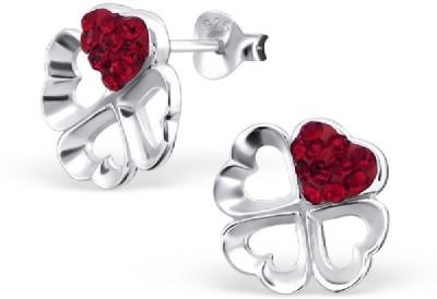 Maayin Heart Flower - Red Crystal Silver Stud Earring