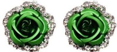 ACW Silver Plated Green Crystal Rose Earrings for Women Alloy Stud Earring