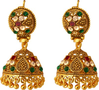 Camy Antique Style Cubic Zirconia Alloy, Brass, Metal Jhumki Earring