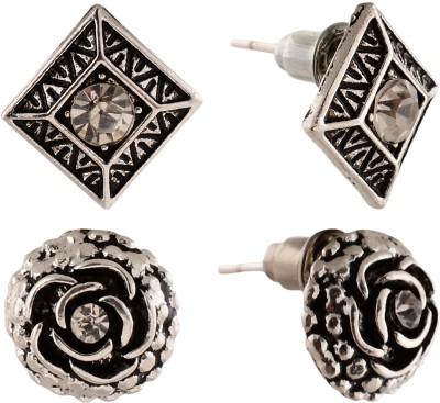 Anokhi Ada Rose and rhombii Metal Stud Earring