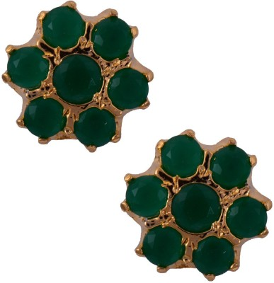 Mahaveer Pearls Fashionable Green Brass Stud Earring
