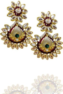 AsiaCraft Gold Plated Meenakari Party Metal Drop Earring