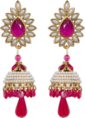 Mitthi Jewels Party Wear Pink Traditional Type Designer Earrings Alloy Drop Earring