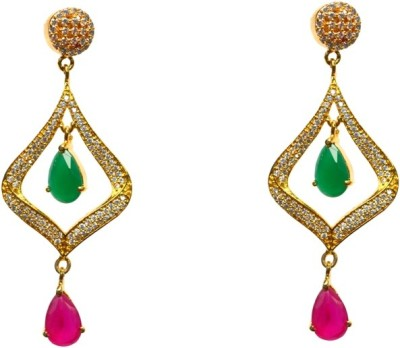 JDJ Imitation Jewelleris Love Forever Red and Green Cubic Zirconia Brass Earring Set
