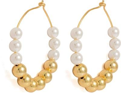 Voylla Pearl Alloy Hoop Earring