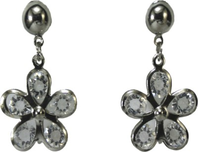 Bandish Silver toned Stone studded Floral Metal Drop Earring